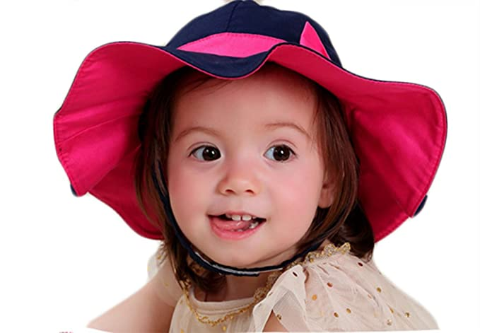bdd57a320d1 Image Unavailable. Image not available for. Color  Baby Girls Kids Sun Hat  with Chin Strap ...