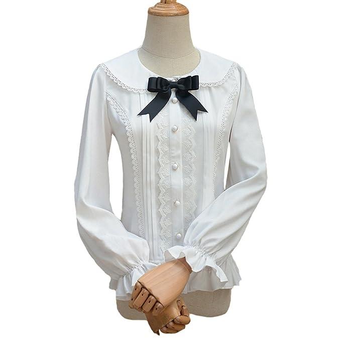 Double Villages Falda Plisada con Volados de Gasa Blusa para Mujer Blusa Lolita Victoriana Retro Blusa