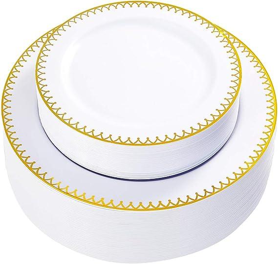 WDF 60 pieces Gold Plastic Plates-Disposable Gold Rim Wedding Party Plates, Premium Heavy Duty 30-10.25