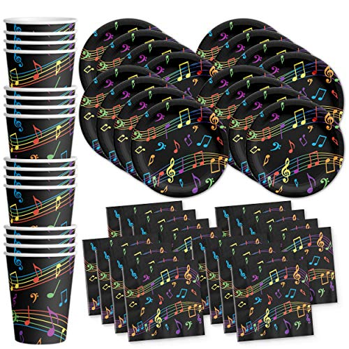 Colorful Music Notes Birthday Party Supplies Set Plates Napkins Cups Tableware Kit for 16 by Birthday Galore -