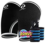 Elbow Sleeves (Pair)W/ Bonus Heavy Duty Wrist Wraps-Support & Compression for Weightlifting, Powerlifting, CrossFit and Tennis-5mm Neoprene Brace for Both Women & Men, Black,M