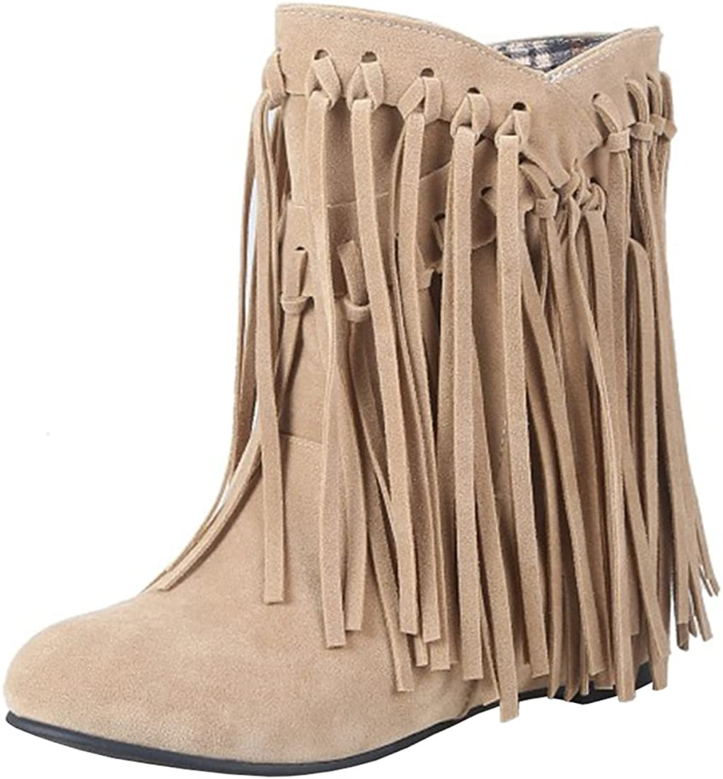 Women Moccasin Boots Mid Calf Hidden Flat Heel Studded Tassels Pull On Shoes New