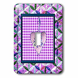 Beverly Turner Heart Design - Petal Shaped Quilt Look, Frame, Purple Cloth Look Rose Heart, Ribbon - Light Switch Covers - single toggle switch (lsp_236959_1)