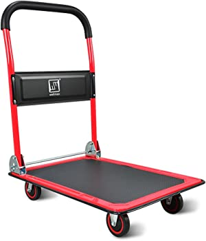 Push Cart Dolly by Wellmax, Moving Platform Hand Truck, Foldable for Easy Storage and 360 Degree Swivel Wheels with 660lb Weight Capacity, Red Color