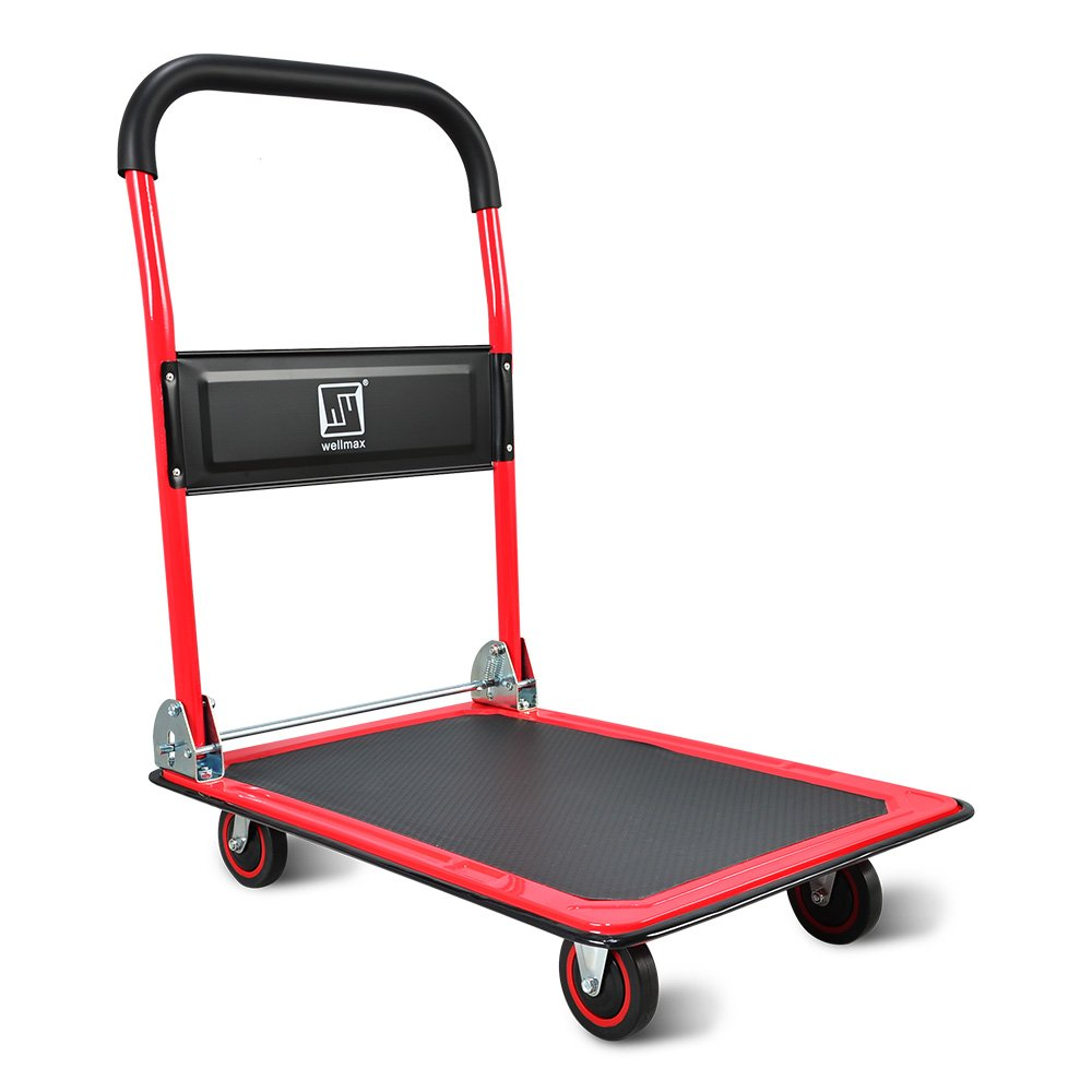 Push Cart Dolly by Wellmax | Functional Moving Platform + Hand Truck | Foldable for Easy Storage + 360-degree Swivel Wheels + 330lb Weight Capacity | Red Colour