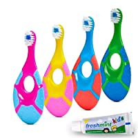 ECOVONA- Baby Toothbrush for Infants & Toddlers 0-2 Years Old (4 Pack) | Bonus Fluoride...