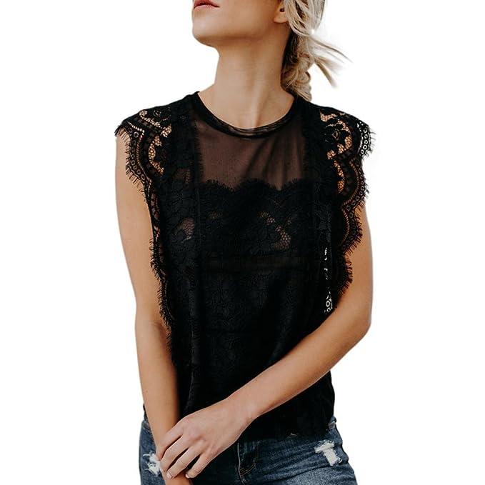 Amazon.com: iMakCC - Camiseta sin mangas de encaje para ...