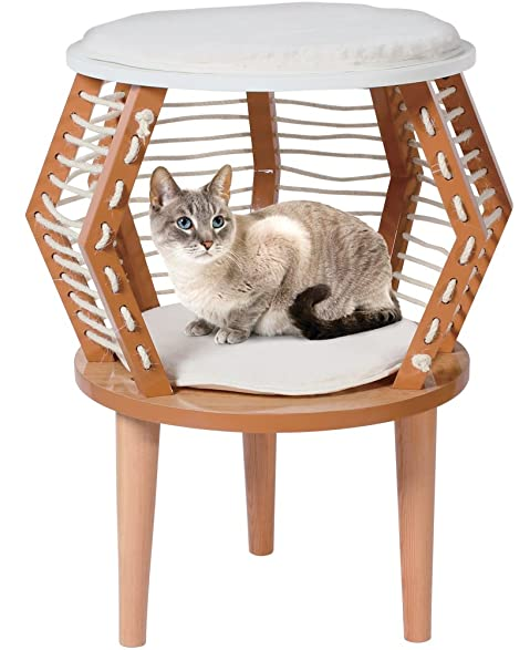 Penn Plax Cat Furniture Perch, Hideaway, And Bed, Modern Wood Design 23.5  Inches