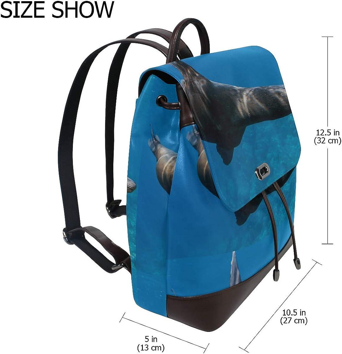 Cute Sea Lion In Water Women Leather Backpack Girls Leather Backpack Drawstring Waterproof Womens Shoulder Bag Womens Backpack Leather For Women