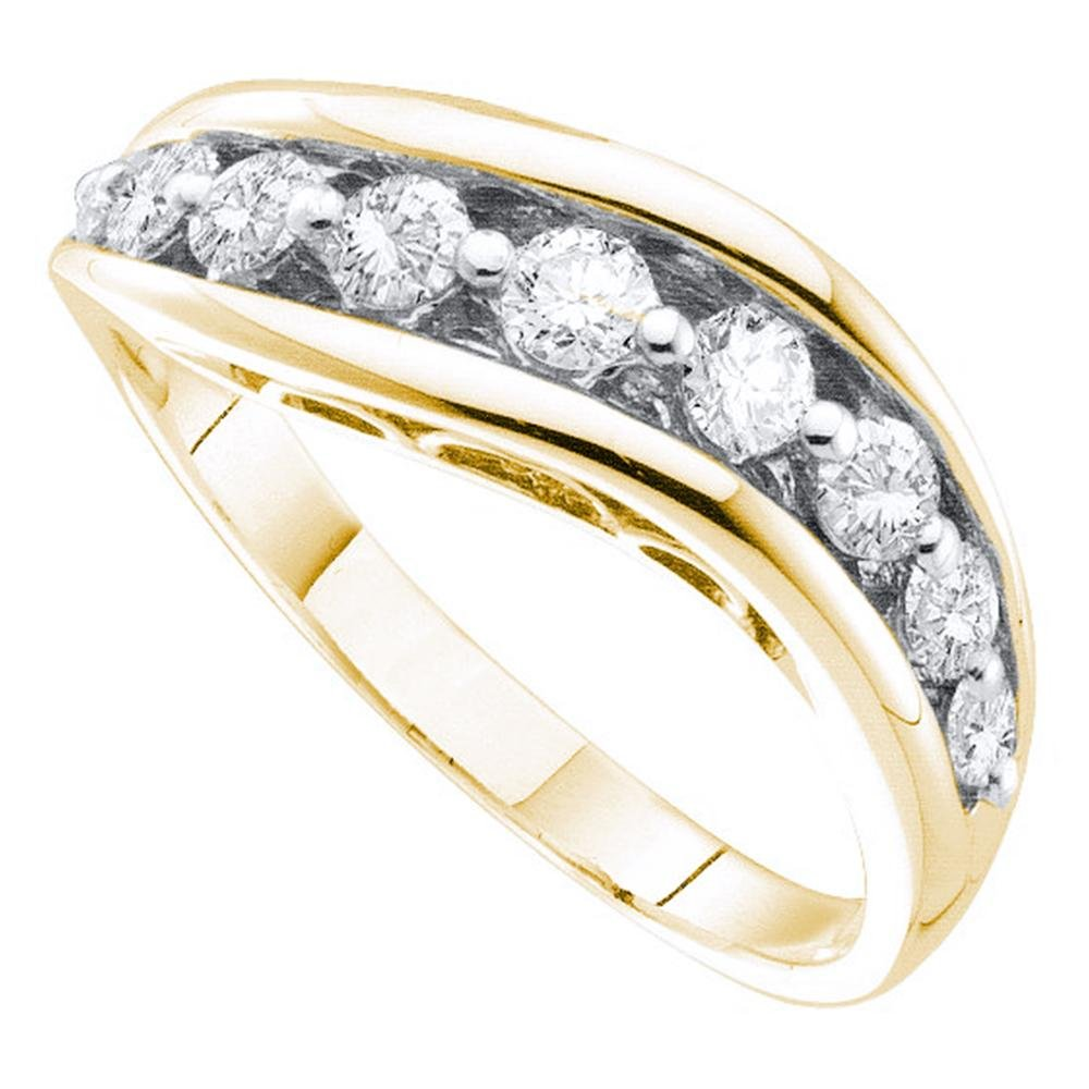 14k Yellow Gold Womens Diamond Curve Band Fashion Ring Stackable Style Polished Fancy 1/2 ctw Size 8