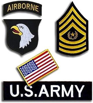 Nosotros militar filas insignia Velcro parche/Estados Unidos Ejército Velcro Patch/parche de Velcro bandera de Estados Unidos/U.S. Ejército 101st Airborne división Velcro Patch: Amazon.es: Deportes y aire libre
