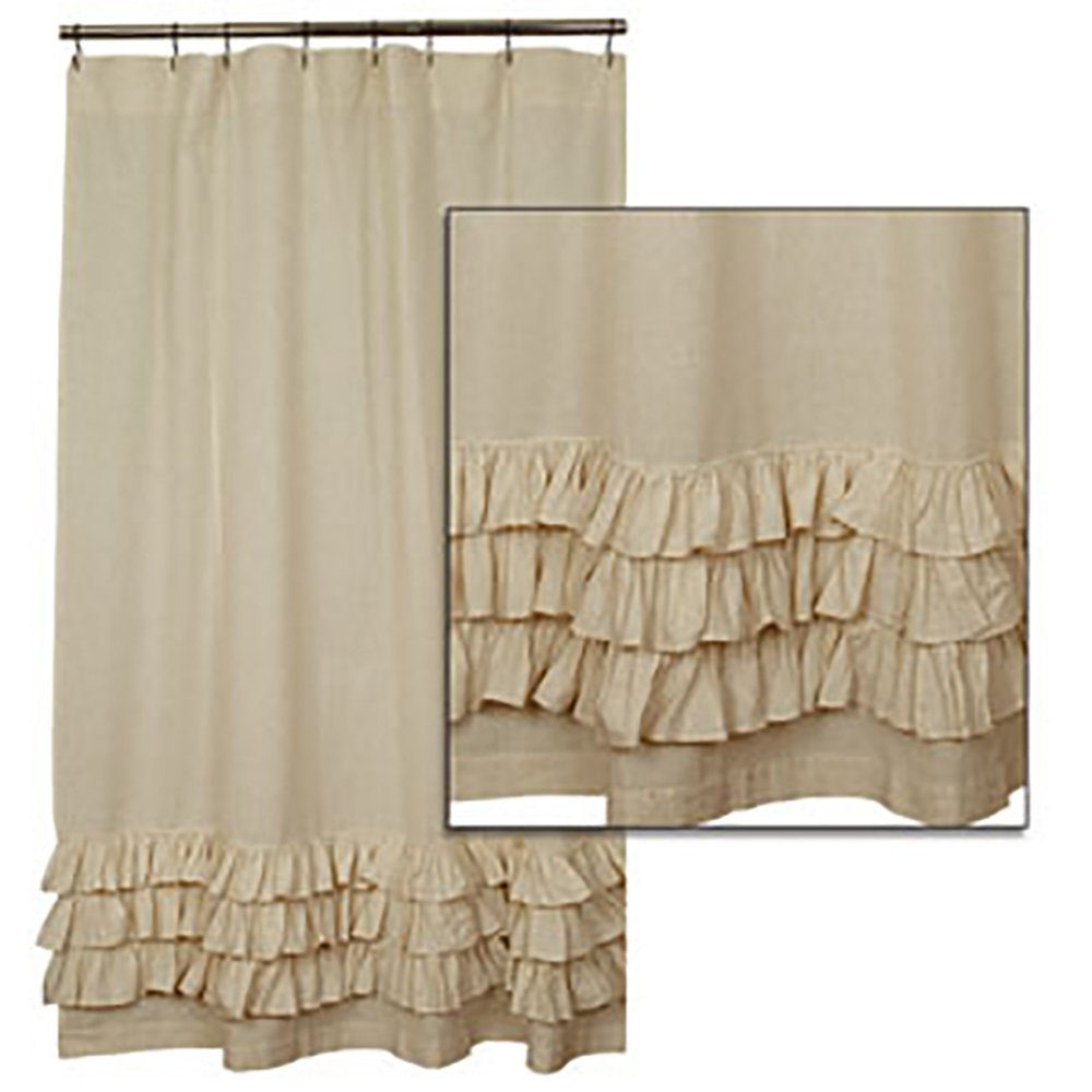 Flax Ruffled Shower Curtain By the Country House Collection, 72'' X 72''