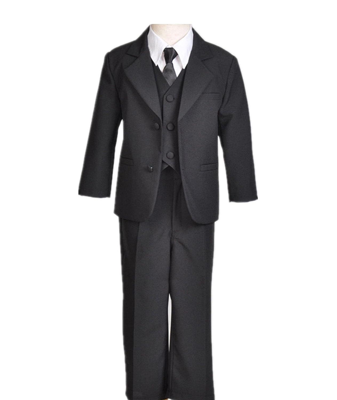 Black Boy Teen Tuxedo Suit Non-Shiny Formal 5 Pcs Set For Wedding Pageant Party