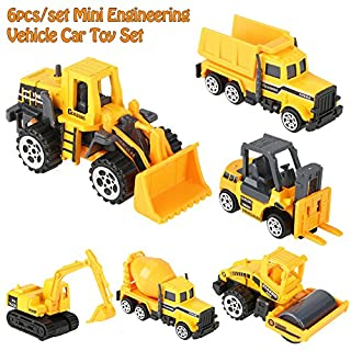 ANGGREK Micro Dump Truck - 6pcs/Set Tough Scale Alloy & Mighty Plastic Engineering Car Truck Toy Mini Vehicle Model Construction Toys Vehicle Kids Gift 1:64