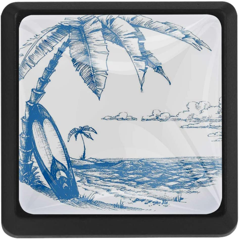 Contemporary Sketch Illustration Hawaiian Beach with Surfboard Palms and Ocean Water 3pcs Drawer Knob Pull Handle Cupboard Knobs with Screws for Home Office Dresser Furniture Wardrobe Handles