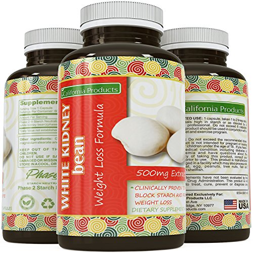 White Kidney Bean Extract - #1 Premium Formula for Weight Loss & Appetite Suppression - Highest Grade, Best Premium Quality - Carb Blocker - Guaranteed By California Products