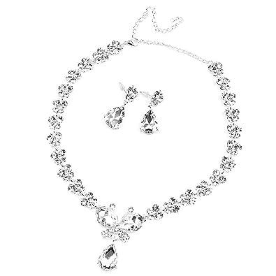 8b13ec256dc2 LEORX Mariposa Novias Estilo Cristal Rhinestone Pendientes Collar Conjunto   Amazon.es  Joyería