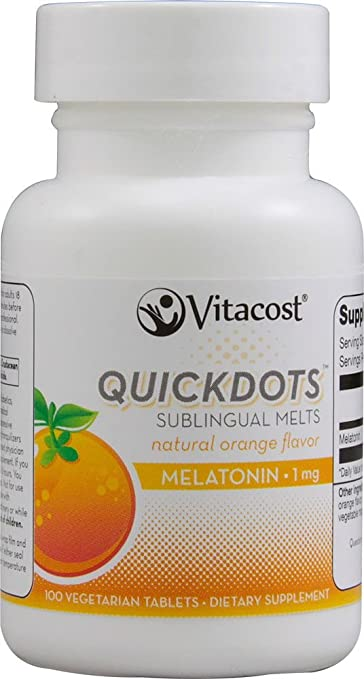 Vitacost Melatonin -- 1 mg - 100 Quickdots Sublingual Melts Vegetarian Tablets - Natural Orange Flavor