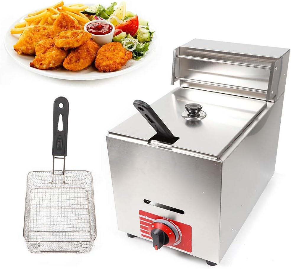 Munsinn Gas Fryer, 10L Commercial Countertop Gas Fryer Restaurant Kitchen Gas Deep Fryer 1 Basket