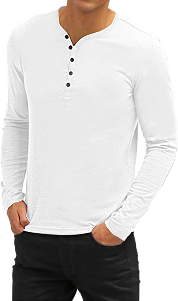 bd800a25a003 Aiyino Mens Casual V-Neck Button Cuffs Cardigan Long Sleeve T-Shirts S White
