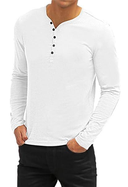 Aiyino Mens Casual V-Neck Button Cuffs Cardigan Long Sleeve T-Shirts S White cf7cb97a342