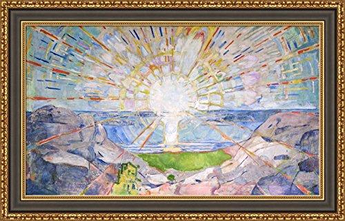 (V15-25-26) Edvard_Munch_The_Sun_Framed_Canvas_Giclee_Print_W38_x_H22