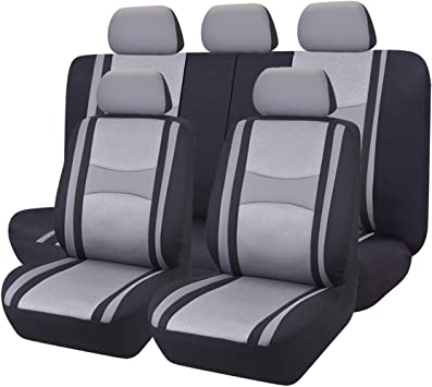 CAR PASS 11PCS Supreme Automobile Seat Covers Set Package-Universal fit for Vehicles,Cars,SUV,Black And Gray With 5mm Composite Sponge Inside,Airbag Compatible NEW ARRIVAL Black and Gray
