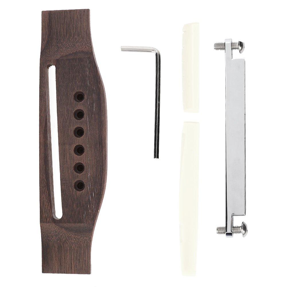 Rosewood Guitar Bridge with Saddle Nut Adjustable Shaft Repair Kit for 6 String Folk Acoustic Guitar