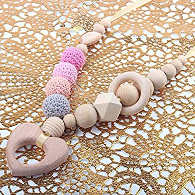 Teething Toys Infant Teether Baby Wooden Teether Necklaces Nursing Toy with Chew Beads BPA Free,Pink, Heart: Toys & Games