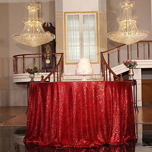 PartyDelight Sequin Tablecloth, Christmas Tree skirt, Round, 72