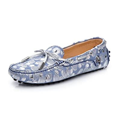 TYAW-Frauen Schuhe Flache Schuhe Leder Quadratischen Kopf Dot Flachen Mund
