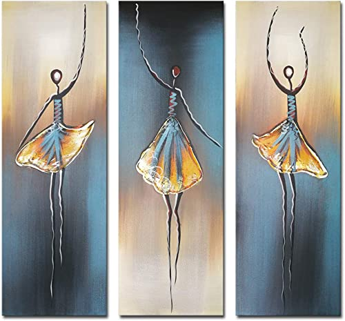 Wieco Art 3 Piece Dancing Ballerina Canvas Oil Paintings Wall Art Decor Large 100 Hand Painted Modern Gallery Wrapped Grey Ballet Dancers Artwork Home Decorations for Living Room Bedroom Kitchen L