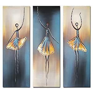 Wieco Art Dancing Girls Modern Large Contemporary 3 Panels 100% Hand Painted Stretched and Framed Ballet Dancers Oil Paintings on Canvas Wall Art Work for Living Room Bedroom Home Decorations