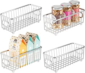 mDesign Metal Farmhouse Kitchen Pantry Food Storage Organizer Basket Bin - Wire Grid Design - for Cabinets, Cupboards, Shelves, Countertops, Closets, Bedroom, Bathroom - Small, 4 Pack - Chrome/Silver
