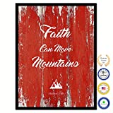Faith Can Move Mountains Matthew 18:20 Bible Verse Scripture Quote Canvas Print Picture Frame Home Decor Wall Art Gift Ideas 28'' x 37''