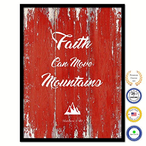 Faith Can Move Mountains Matthew 18:20 Bible Verse Scripture Quote Canvas Print Picture Frame Home Decor Wall Art Gift Ideas 28'' x 37'' by SpotColorArt