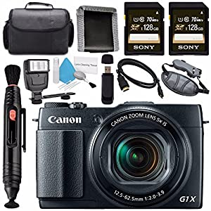 Canon PowerShot G1 X Mark II Digital Camera 9167B001 + Sony 128GB SDXC Card + Carrying Case + Deluxe Cleaning Kit + Memory Card Wallet + Card Reader + HDMI Cable + Lens Pen Cleaner + Flash Bundle