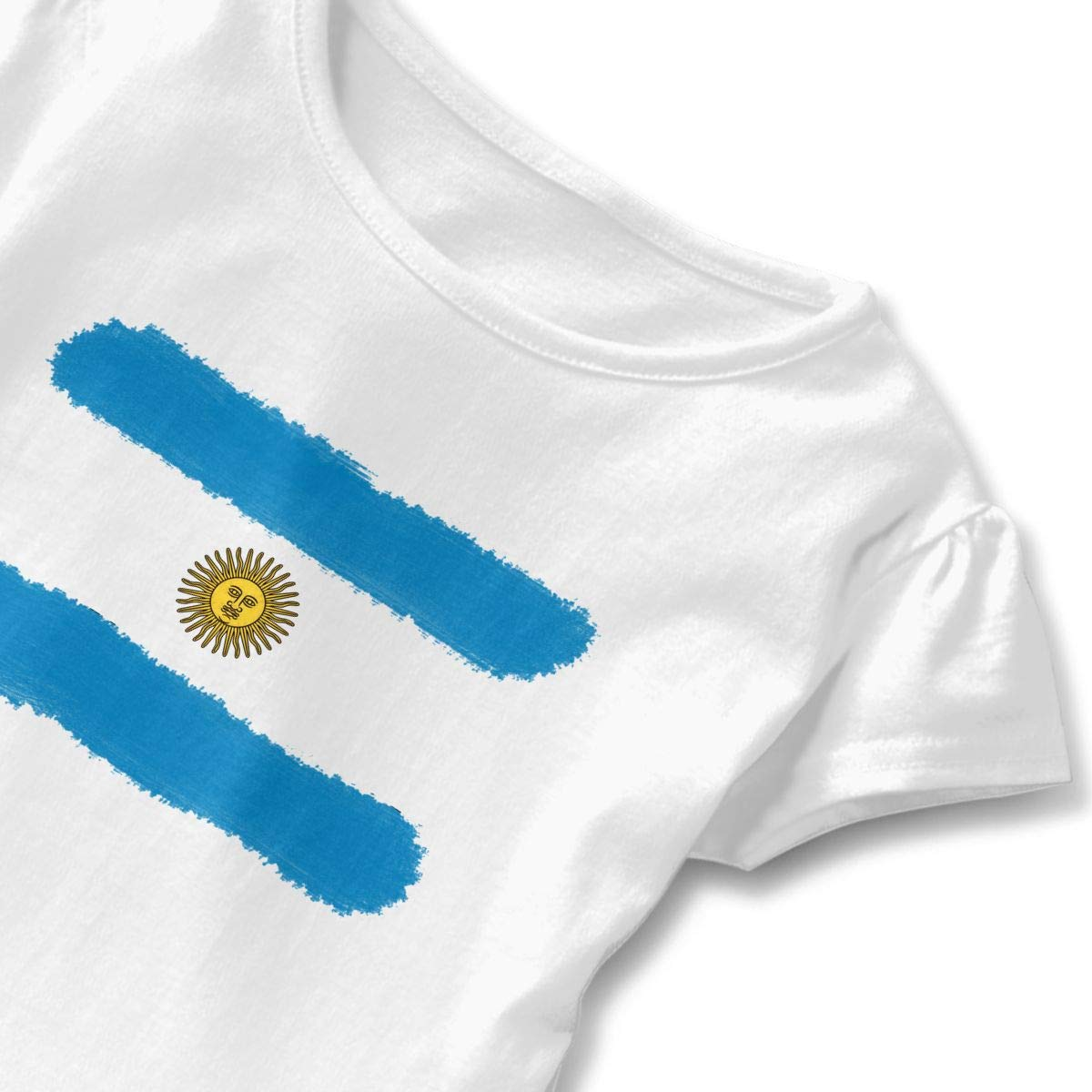 Cheng Jian Bo Flag of Argentina Soccer Toddler Girls T Shirt Kids Cotton Short Sleeve Ruffle Tee