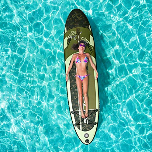 Inflatable 11×30″×6″ Paddle Board for All Skill Levels with All Premium Accessories Stand Up Paddle Board, Aluminum Paddle, Fin, Manual Pump with PSI Gauge, Repair Kit, ISUP Travel Backpack