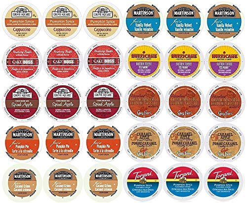 (30-count - Limited Edition Fall Flavors Coffee Variety Pack for Keurig® K-cup® Brewers - Featuring Pumpkin Pie, Butter Toffee or Buttercream, Cinnamon Roll, French Vanilla, Caramel Apple Bread Pudding, Caramel Vanilla Cream, Vanilla Buttercream, Raspberry Truffle, Pumpkin Spice Cappuccino and Spiced Apple Cider)