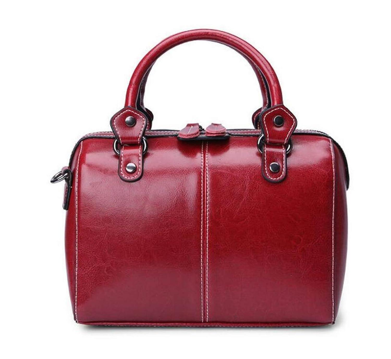 Leder Handtaschen Öl Wachs Leder Kissen Tasche Handtasche Umhängetasche Damen Tasche Tasche Umhängetasche,Red-OneSize GKKXUE