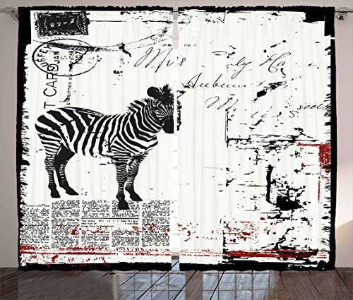 "Ambesonne Grunge Curtains, Modern Textured Safari Animal Zebra on Retro Typographic Background Print, Living Room Bedroom Window Drapes 2 Panel Set, 108"" X 84"", Black Cream"