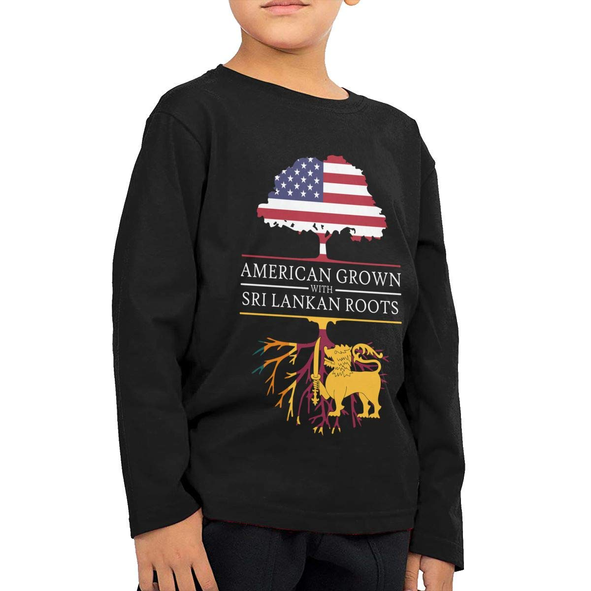 American Grown with Sri Lankan Roots Kids Boys Girls Crew Neck Long Sleeve Shirt T-Shirt for Toddlers