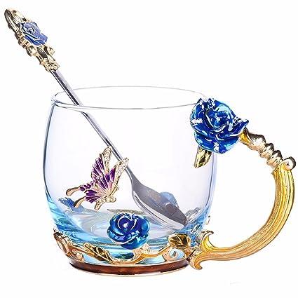 NBHUZEHUA Unique 2018 New Birthday Presents For Women Girl Boyfriend Novelty Flower Glass Tea Cups Coffee