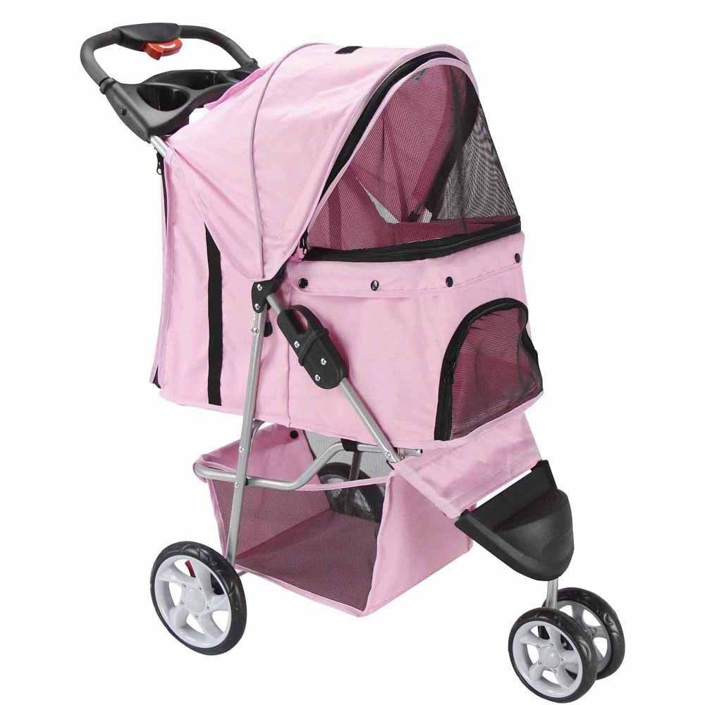 3 Wheel Pet Stroller Cat Dog Walk Jogger Travel Folding Carrier (PINK):Newpng by WW shop
