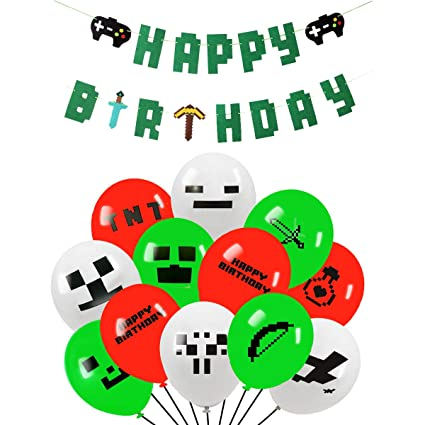 Style Miner Party Balloon Gaming Happy Birthday Banner and 30 Pack Pixel  Style Miner Party Balloon - Large 12