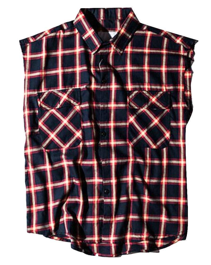 Jofemuho Men Sleeveless Summer Side Zip Up Hip Hop Relaxed Fit Dress Checkered Shirt