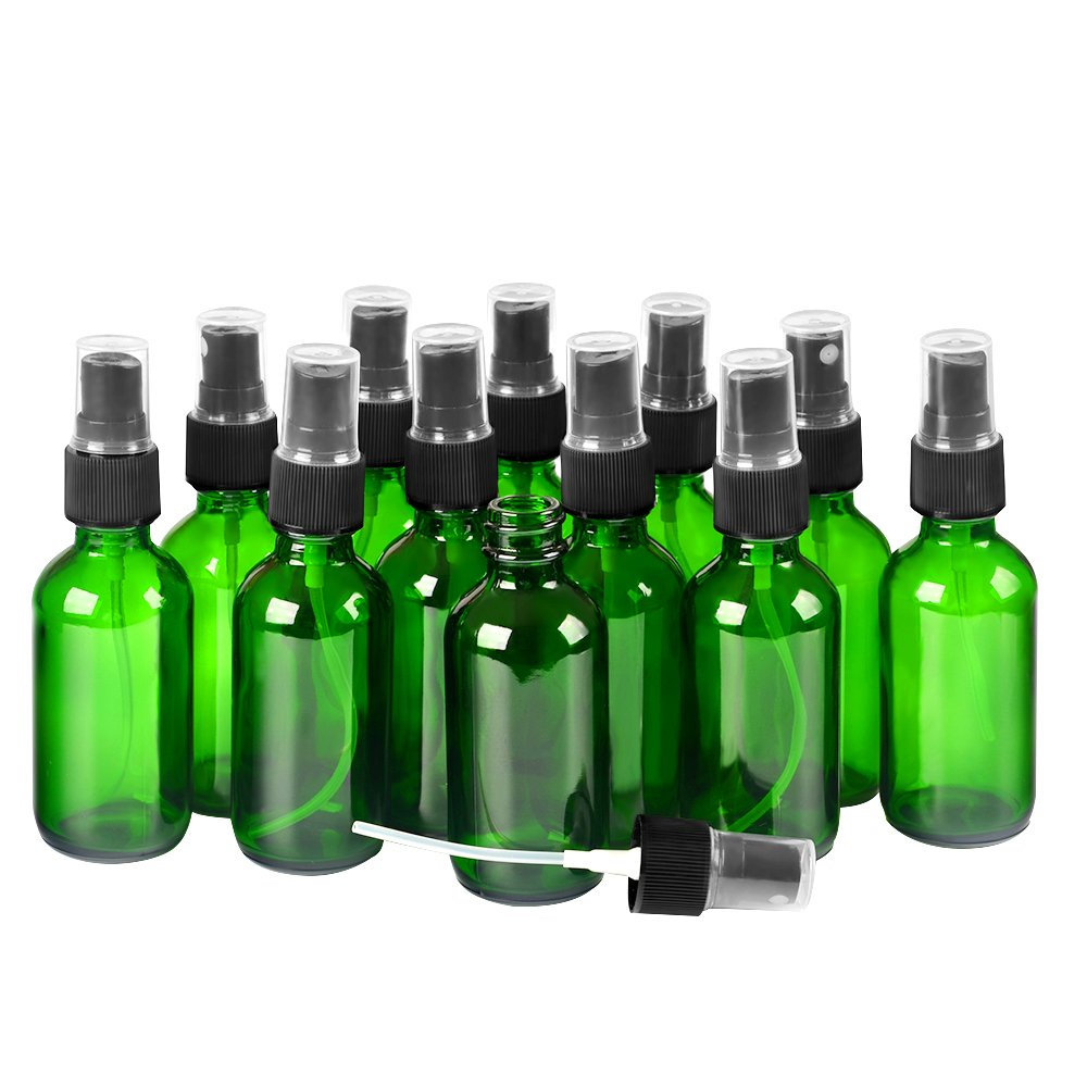 12 Pack,2oz Green Glass Bottle Bottles with Black Fine Mist Sprayer.Refillable & Reusable.Designed for Essential Oils, Perfumes,Cleaning Products,Aromatherapy.12 Chalk Labels as gift.