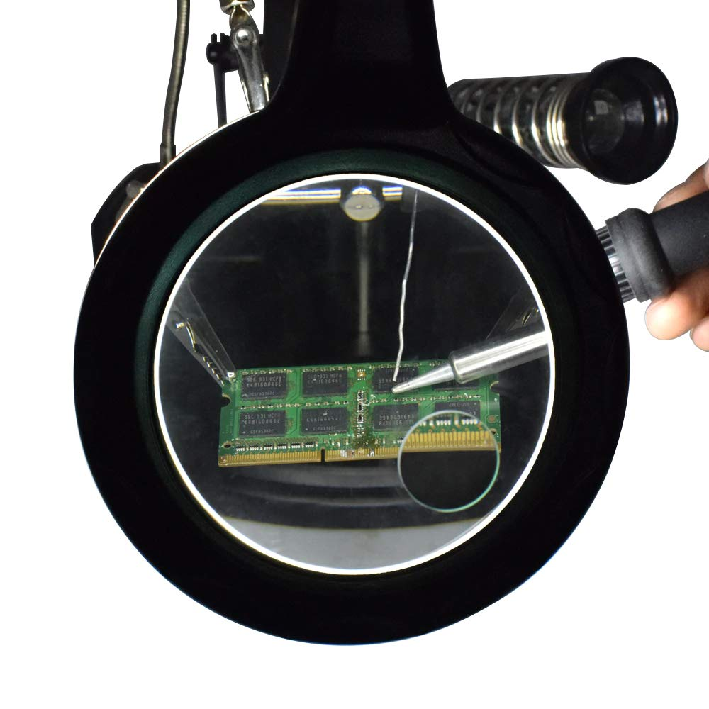 MMOBIEL Heavy Duty Helping Hand Magnifier Station 2.5X 4X LED Light Hands Free Magnifying Glass Stand with Clamp and Clips