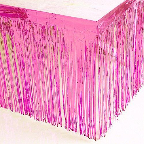 Blukey Tinsel Foil Fringe Pink Table Skirt 9FT x 29Inch Metallic Party Table Skirt 108